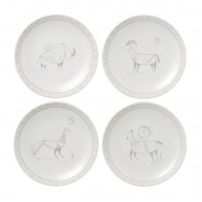 "ED Ellen DeGeneres Crafted by Royal Doulton Cave Animal 4 Piece 6"" Bread and Butter Plate Set EDRD1021"