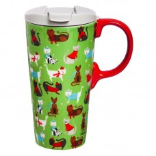 The Holiday Aisle Sassy Cats 17 oz. Ceramic Travel Mug HLDY1715