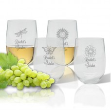 Carved Solutions Personalized 4 Piece Garden 14 Oz. Stemless Wine Glass WXH1565