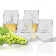 Carved Solutions Personalized Sailboat 14 Oz. Stemless Wine Glass WXH1573
