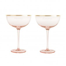 Cathys Concepts Personalized 8 Oz. Blush Rose Gilded Rim Coupe Flutes YCT4627