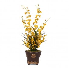 Bloomsbury Market Brilliant Dancing Footed Decorative Orchid Centerpiece in Pot ICTH1001