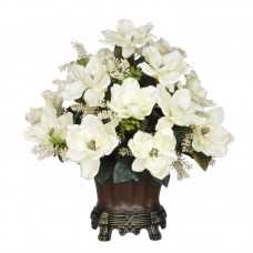 House of Silk Flowers Magnolia Centerpiece in Decorative Vase HSFL1457