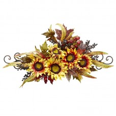Nearly Natural Sunflower Swag With Metal Frame TXN4374