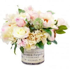 Willa Arlo Interiors Mixed Peony and Hydrangea Centerpiece in French Label Pot WRLO1005