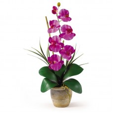 World Menagerie Silk Orchid with Ceramic Pot WDMG1753