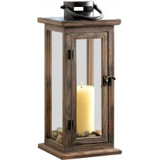 Beachcrest Home Wood/Glass Lantern BCHH6264
