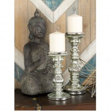 Lark Manor 2 Piece Glass and Metal Candlestick Set LARK9172