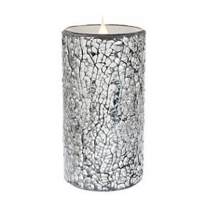 Everly Quinn Crackled Mosaic Unscented Flameless Candle EYQN5904