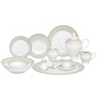 Lorren Home Trends Alina Porcelain 57 Piece Dinnerware Set, Service for 8 LHT1239
