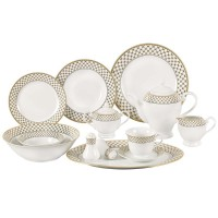 Lorren Home Trends Anabelle 57 Piece Porcelain Dinnerware Set, Service for 8 LHT1347