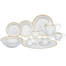 Lorren Home Trends Ricamo Porcelain 57 Piece Dinnerware Set, Service for 8 LHT1246
