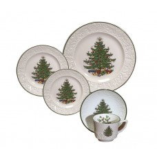 The Holiday Aisle Original Christmas Tree Dickens Embossed 20 Piece Place Setting Set THLA5710