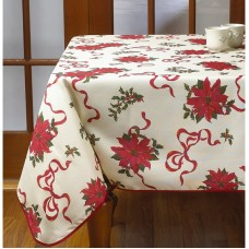 The Holiday Aisle Poinsettias and Bows Decorative Christmas Tablecloth THDA4795