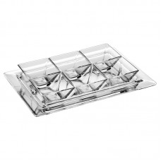 Majestic Crystal 7 Piece Glass Divided Serving Dish Set MJAC1450
