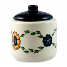 Novica Floral Hand Painted Ceramic 13 oz. Sugar Bowl with Lid NVC7837