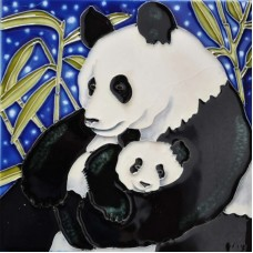 Continental Art Center Panda Mother and a Baby Tile Wall Decor CNTI1450