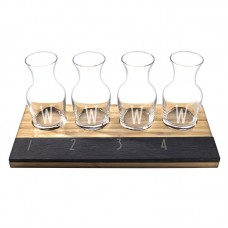 Cathys Concepts 6 Piece Personalized Bamboo and Slate Wine Tasting Flight Decanter Set YCT3314