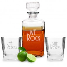 Cathys Concepts We Rock Decanter and Glass Set YCT3238