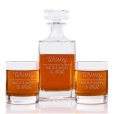 Loon Peak Faust Whiskey Won't Solve Your Problems But It's Worth A Shot Classic Square 3 Piece Beverage Serving Set LOPK6271