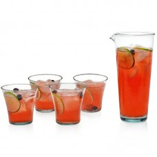 Prologue Luna Handblown Crowned Rocks Glass Entertaining 5 Piece Beverage Serving Set PLGU1002