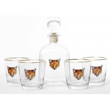 Richard E. Bishop 5-Piece Fox Decanter Set REBI1011