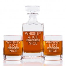 Brayden Studio Sigler Whiskey And Ice And Everything Nice Classic Square 3 Piece Beverage Serving Set BYST7346